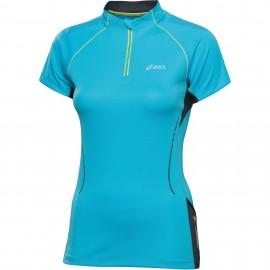 Tshirt trail zip bleu asics