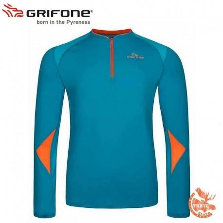 Grifone kimquist T-shirt Manches longues bleu et orange