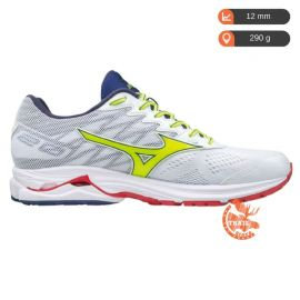 Mizuno Wave Rider 20 White Safety Yellow Blueprint Homme blanc blanche jaune