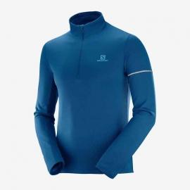 Salomon Agile Demi Zip Mid Tshirt running Poseidon Homme