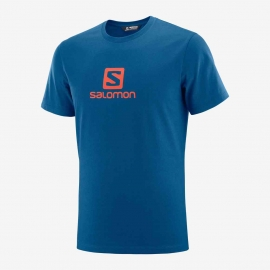 Salomon Coton Logo SS Tee M Poseidon Cherry