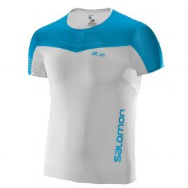 Salomon S-Lab Sense Tee Trail Running Manches courtes White Transcend Blue Homme