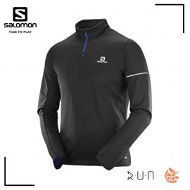 Salomon Agile Demi Zip Mid Tshirt running Black Homme