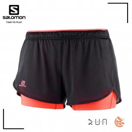 Salomon AGILE 2in1 Short Black Fiery Coral Femme